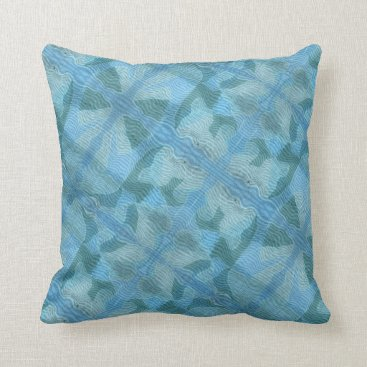 Beach Themed Abstract Blue Asian  Graphic Design Pillow