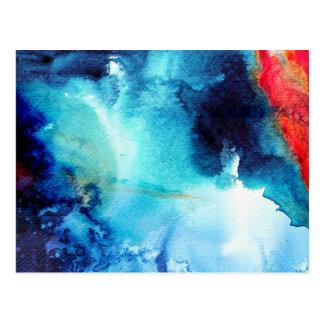 Abstract Blue Batik Pattern Postcard