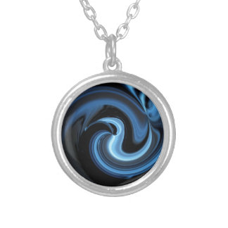 Abstract Blue Bird *personalize* Silver Plated Necklace