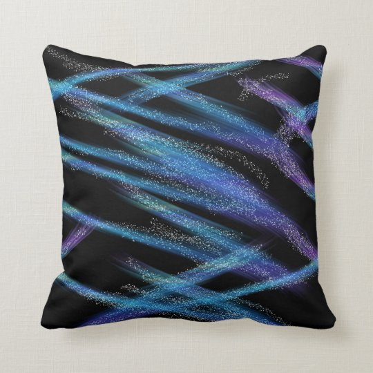 abstract blue black throw pillow