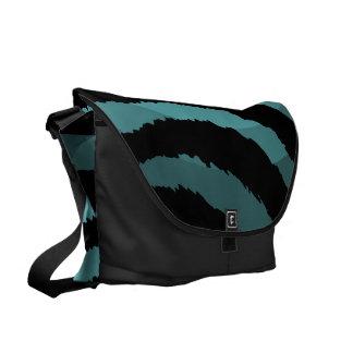 Abstract Blue Black Zebra Print Messenger Bag