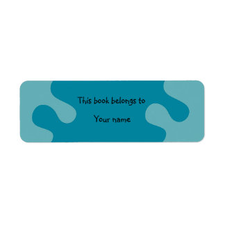 Abstract blue bookplate return address labels