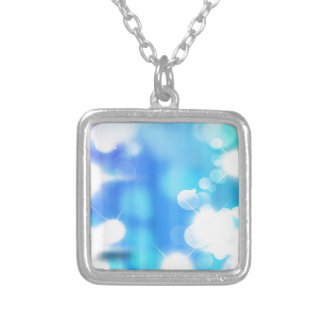 Abstract Blue Bubbles Silver Plated Necklace