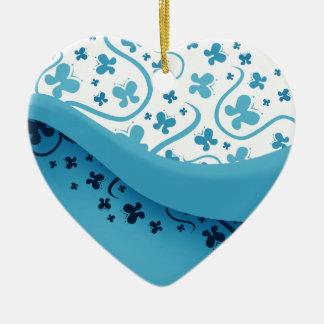 Abstract Blue Butterflies Heart Ornament