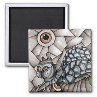 Abstract Blue Cat  Magnet