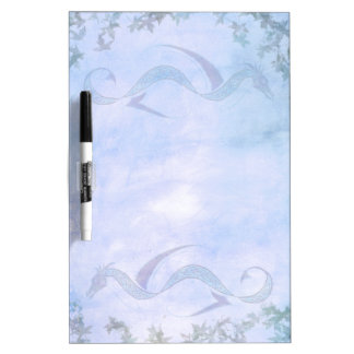 Abstract Blue Celtic Dragon Dry Erase Board