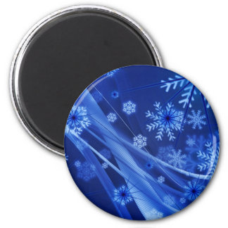 Abstract blue Christmas snowflakes composition 2 Inch Round Magnet
