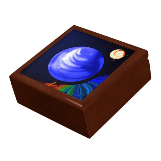 Abstract Blue Cosmic Marble Box