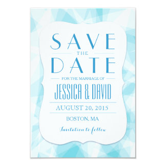 Abstract Blue Crystal Save the Date Card