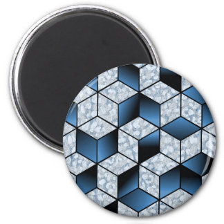 Abstract Blue Cubic Effect Design Magnet