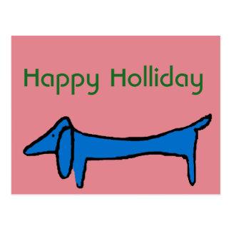 Abstract Blue  Dachshund Christmas Postcard