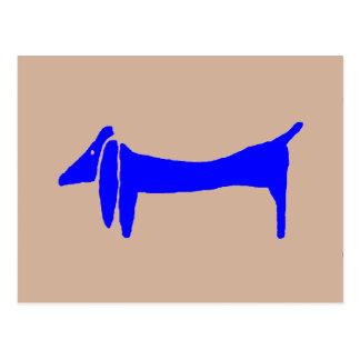 Abstract Blue Dachshund Postcard