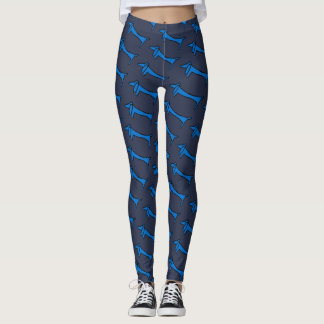 Abstract Blue Dachshund style, Leggings