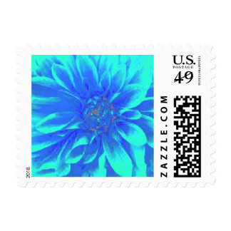 Abstract Blue Dahlia Flower Painting Postage