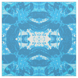 Abstract Blue Dahlia Flower Pattern Fabric