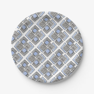 Abstract Blue Diamond- Ink Drawing Paper Plate