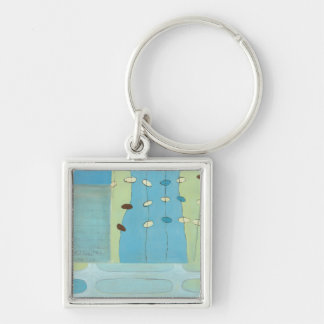 Abstract Blue Egg Parade Keychain