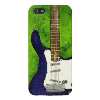 abstract blue electric guitar picture w/green iPhone SE/5/5s cover