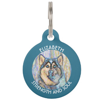 Abstract Blue Eyed Husky The Beautiful Dog Pet Name Tag