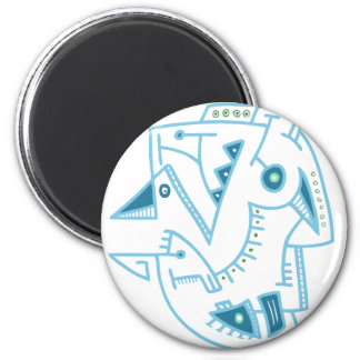 Abstract Blue Face - Lines & Dots Magnet