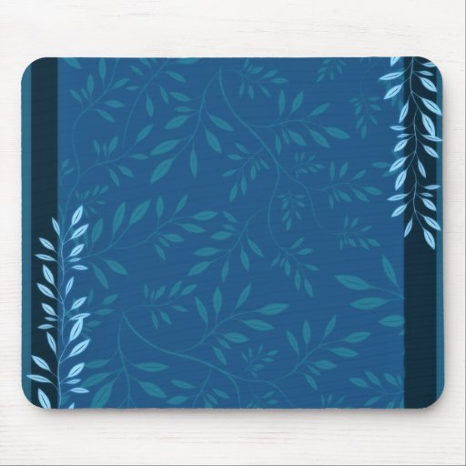 Abstract Blue floral leaves Mouse Pads