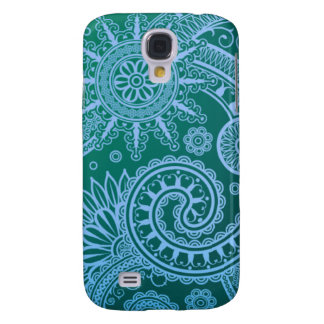 Abstract Blue Floral Pattern Samsung Galaxy S4 Cases