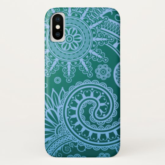 Abstract Blue Floral Pattern iPhone X Case