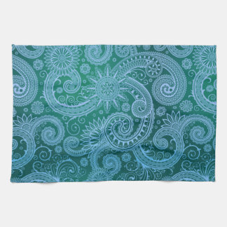 Abstract Blue Floral Pattern Kitchen Towel