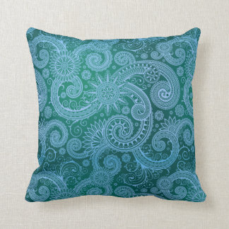 Abstract Blue Floral Pattern Pillows