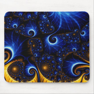 Abstract Blue Fractal Sky Mouse Pad