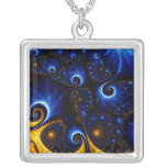 Abstract Blue Fractal Sky Necklace