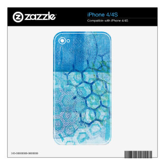 Abstract Blue Gel Print Honeycomb iPhone 4S Decal
