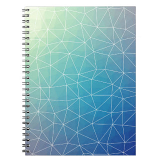 Abstract Blue Geometric Triangulated Design Notebook