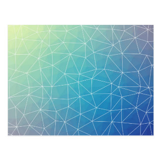 Abstract Blue Geometric Triangulated Design Postcard