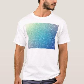 Abstract Blue Geometric Triangulated Design T-Shirt