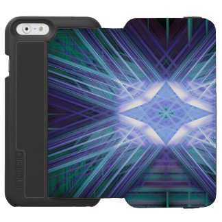 Abstract blue glowing star iPhone 6/6s wallet case