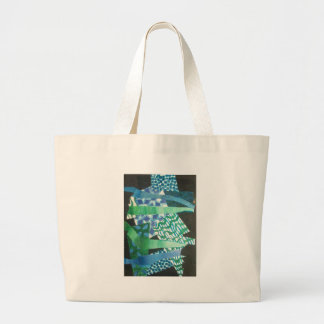 abstract blue green canvas bag