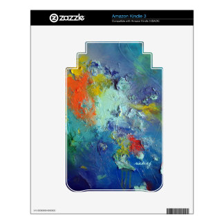 Abstract Blue Green Colorful Skin Decals For Kindle 3