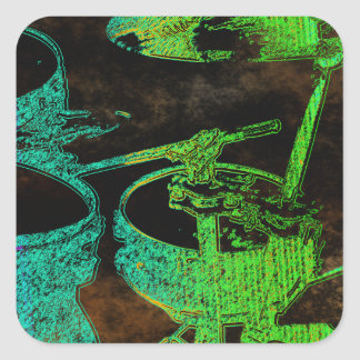 Abstract Blue Green  Drum Set Square Stickers