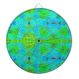 Abstract Blue Green  Floral Dahlia Flower Pattern Dartboard