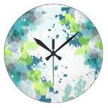 Abstract Blue & Green Flower Design Clock