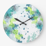 Abstract Blue & Green Flower Design Large Clock