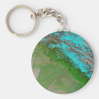 Abstract Blue Green Keychain