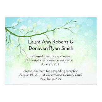 "Abstract Blue Green Leaves Post Wedding Invitation 5.5"" X 7.5"" Invitation Card"
