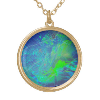 ABSTRACT BLUE GREEN OPAL EFFECT GOLD PLATED NECKLACE