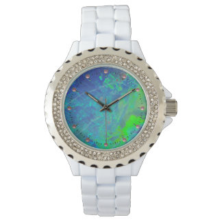 ABSTRACT BLUE GREEN OPAL EFFECT WRIST WATCH