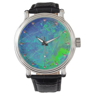 ABSTRACT BLUE GREEN OPAL PHOTO WATCH