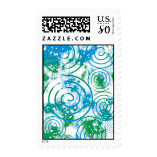 Abstract Blue/Green Postage