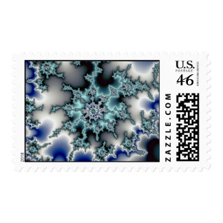 Abstract Blue-green starburst Postage