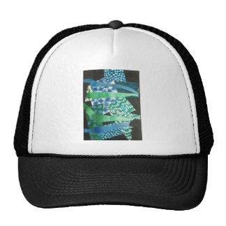 abstract blue green trucker hats